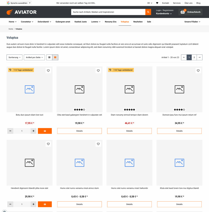 Aviator - JTL-Shop 5 Template